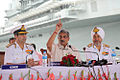 Defence Minister Manohar Parrikar addressing the members of media at the commissioning of INS Vajrkosh.jpg