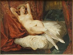 Eugène Delacroix: Study of Female Nude Reclining on a Divan