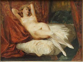 Étude de femme nue, couchée sur un divan