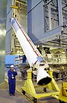 Delta II solid rocket booster erected for ICESat and CHIPSat mission (KSC-02PD-2047).jpg