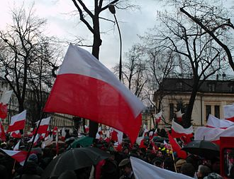 2015 Polish Constitutional Court crisis - A pro-government Law and Justice rally in support of the new Constitutional Tribunal legislation, 13 December 2015