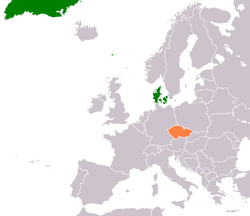 Map indicating locations of Denmark and Czech Republic