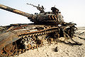 Destroyed Iraqi T-72 tank during the Gulf War.JPEG