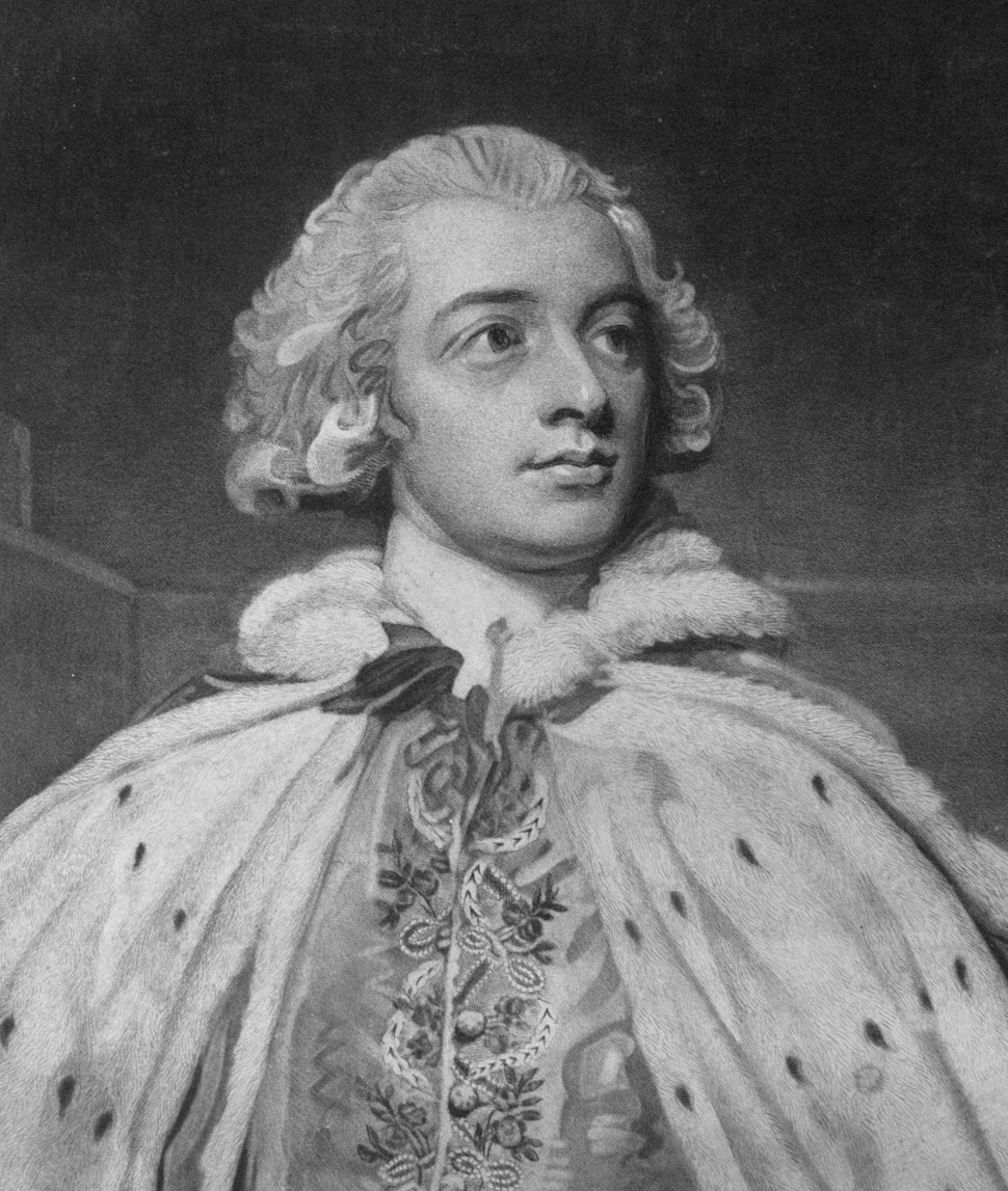 Detail of a mezzotint portrait by John Jones (circa 1745-1797) after George Romney of John Fane, 10th Earl of Westmorland, 1796