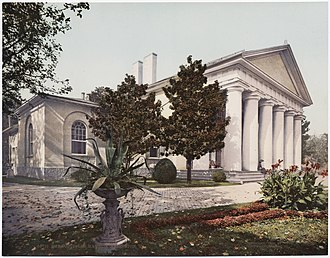 Arlington House, The Robert E. Lee Memorial - East side of Arlington House, circa 1900, from a photochrom postcard
