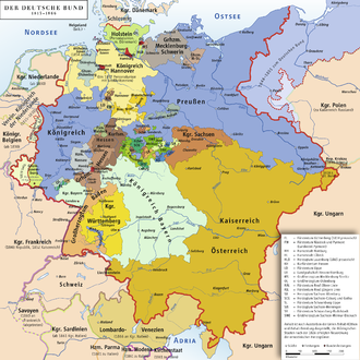 The 39-state German Confederation (1815-1866) still included several microscopic states. Deutscher Bund.png