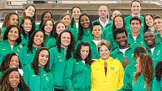 Brazil at the 2012 Summer Olympics - Brazilian President Dilma Rousseff with part of the Olympic delegation.