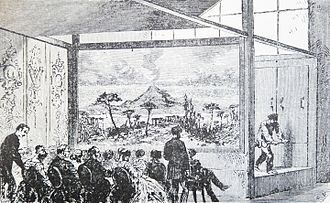Jorge Luis Farjat - Diorama of Louis Daguerre y Charles Marie Bouton (1822), historical background of the audiovisual art, back further than the cinema, along with the magic lantern (1660). The curtains painted with overlapped landscapes offered the audience successive and changing images inside a darkroom camera, with a sound effect of nature. Due to its principle of action, development and ending, and the dissolve effect of one image over the other, it constituted the same principle than the current audiovisual art: photos shown with lap dissolve together with the sound in an articulated montage.