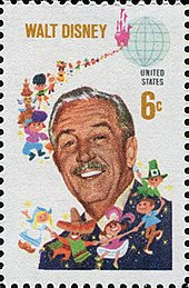 A portrait of Disney with cartoon representations of different nationalities on a 6 cent US stamp