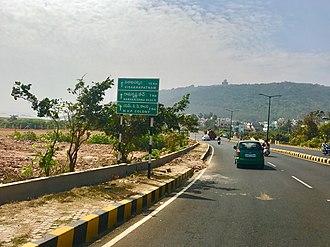 Distance - A board showing distances near Visakhapatnam