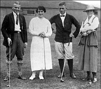 Perry Adair - (Left to right) Perry Adair, Elaine Rosenthal, Bobby Jones and Alexa Stirling at the Red Cross exhibition match at the Montclair Golf Club in 1918