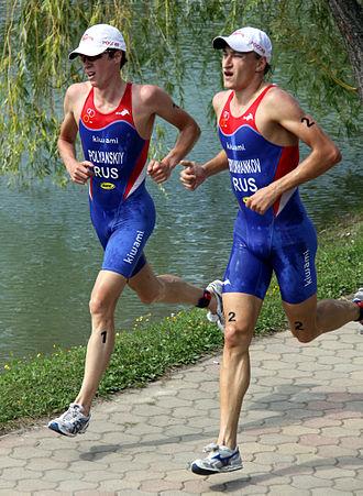 Dmitry Polyanski - Dmitry Polyanski winning gold at the World Cup triathlon in Tiszaújváros, 2009.