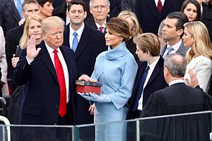 Inauguration - President of the United States Donald Trump taking the oath of office from Chief Justice of the United States John Roberts on January 20, 2017.
