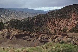 Dotsero - Dotsero maar in central Colorado near the junction of the Colorado and Eagle rivers.