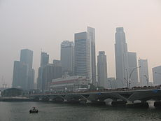 Singapore's Downtown Core on 7 October 2006, when it was affected by forest fires in Sumatra, Indonesia.
