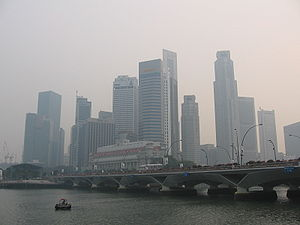 ASEAN Agreement on Transboundary Haze Pollution - Singapore's Downtown Core on 7 October 2006, when it was affected by forest fires in Sumatra, Indonesia.
