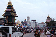 image of a street in the town with temple chariot
