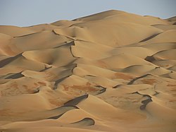 Dunes near Liwa Oasis in the region of Ar-Rub' Al-Khali (The Empty Quarter)