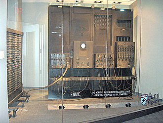 ENIAC - Four ENIAC panels and one of its three function tables, on display at the School of Engineering and Applied Science at the University of Pennsylvania