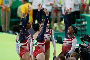 Final Five (gymnastics) - The Final Five celebrating after winning the Women's Team All-Around at the 2016 Summer Olympics