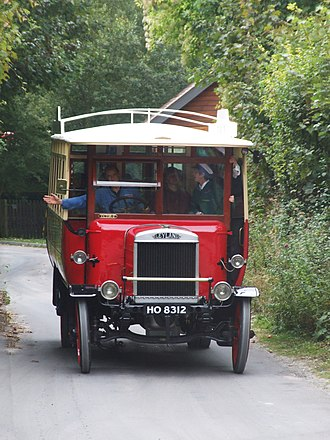 Amberley Museum & Heritage Centre - Early Leyland bus on the road at Amberley