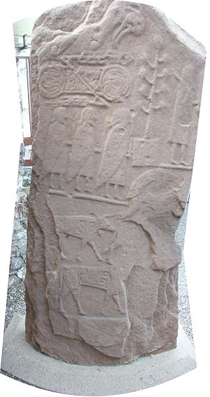 Eassie Stone - Rear of stone, showing sculpted figures and symbols