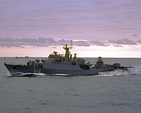 East German frigate Berlin underway on 1 October 1985 (6409381).jpg