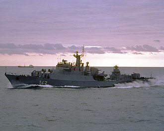 BALTOPS - A port bow view of the East German Koni class frigate Berlin underway near NATO ships participating in NATO Exercise BALTOPS '85, on 1 October 1985