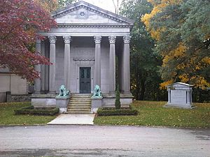 Eaton family - The Eaton family's mausoleum at Mount Pleasant Cemetery in Toronto, with lions by sculptor Eli Harvey