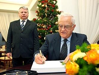 Eddie Fenech Adami -  President Fenech Adami in the Polish Senate.