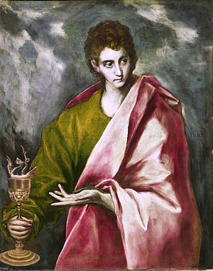 Authorship of the Johannine works - El Greco's rendition of John the Apostle shows the traditional author of the Johannine works as a young man.