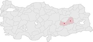 May 24, 1993 PKK ambush - Locations of Elazığ and Bingöl Turkey