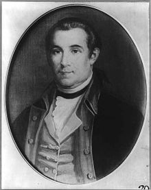 Print of clean shaven man in 18th century United States military uniform