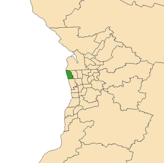 Map of Adelaide, South Australia with electoral district of Lee highlighted