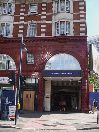 Newington Causeway - Entrance to the Elephant & Castle Underground station at the junction of Newington Causeway with the Elephant and Castle roundabout
