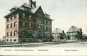 "History of Wrigley Field - A close-up view of Eliza Hall (""Students Building"") and the professors residences from the same series of postcards as seen from Waveland Avenue."