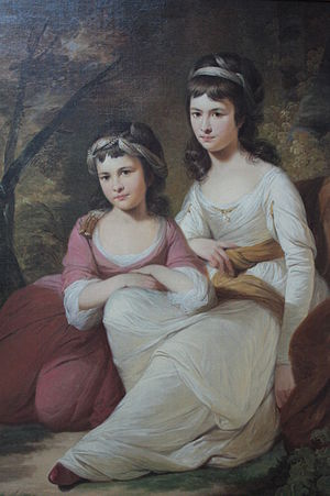 Tilly Kettle - Eliza and Mary Davidson by Tilly Kettle, painted in India, 1784 (detail)