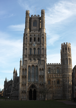 The west tower of Ely Cathedral, as seen from Palace Green.