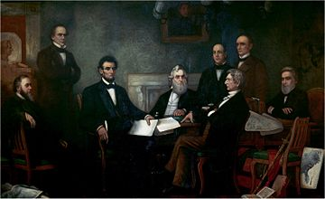 Lincoln met with his Cabinet for the first reading of the Emancipation Proclamation draft on July 22, 1862. L-R: Edwin M. Stanton, Salmon P. Chase, Abraham Lincoln, Gideon Welles, Caleb B. Smith, William H. Seward, Montgomery Blair, and Edward Bates.