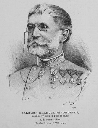Emanuel Salomon Friedberg-Mírohorský - Emanuel Salomon Friedberg-Mírohorský; drawing by Jan Vilímek (1889)