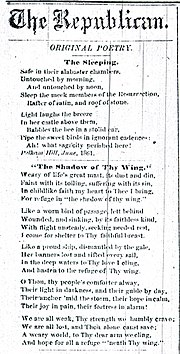 """""""Safe in their Alabaster Chambers –,"""" entitled """"The Sleeping,"""" as it was published in the Springfield Republican in 1862."""