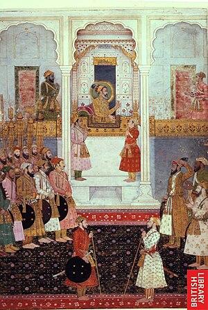 Durbar (court) - Emperor Shah Jahan and Prince Alamgir (Aurangzeb) in Mughal Court, 1650