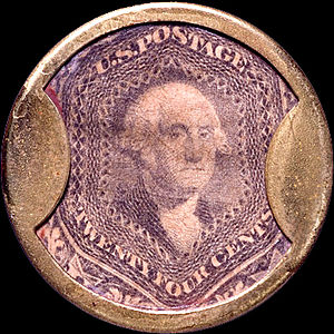 English: Encased postage stamp