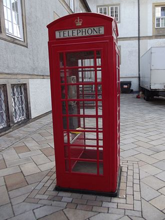 Anglophile - A German telephone box in Bielefeld run by German Telekom which is a homage to traditional British design.