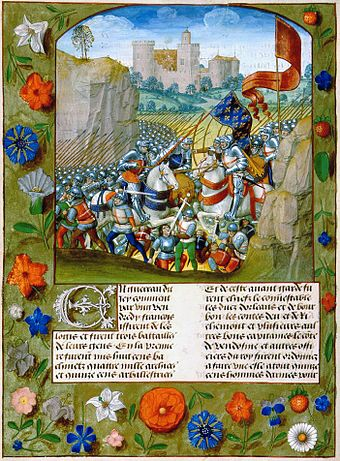 Parchment miniature of Henry V's victory at the Battle of Agincourt in 1415, from Enguerrand de Monstrelet's Chronique de France circa 1495 Enguerrand de Monstrelet - Slag bij Azincourt.jpg
