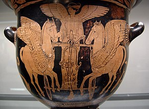 Proto-Indo-European religion - Eos in her chariot flying over the sea, red-figure krater from South Italy, 430–420 BC, Staatliche Antikensammlungen