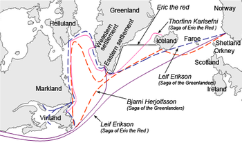 The different sailing routes to Greenland, Vinland, Helluland and Markland travelled by different characters in the Icelandic Sagas, mainly Saga of Eric the Red and Saga of the Greenlanders. The names are the common modern English versions of the old Norse names.