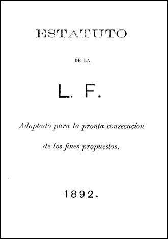 La Liga Filipina - The cover page of the constitution of La Liga Filipina