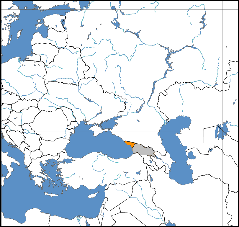 Map centered on the Caucasus indicating Abkhazia (orange) and Georgia proper and South Ossetia (both grey).