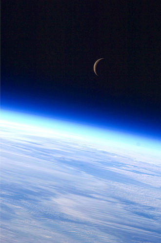 Lunar phase - A crescent Moon above Earth's horizon is featured in this 2010 photograph by an Expedition 24 crew member.